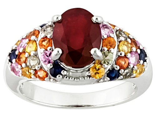 Photo of 2.98ct Oval Mahaleo®Ruby With 1.46ctw Round Multi Sapphire Sterling Silver Ring - Size 6