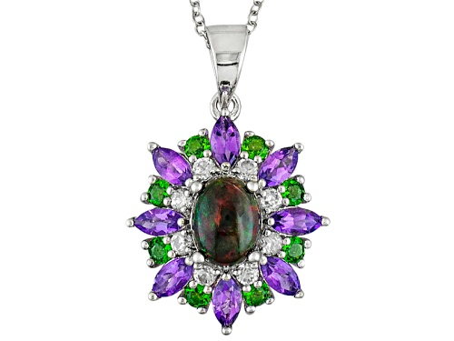 Photo of .60ct Black Ethiopian Opal, 1.89ctw Multi Gemstone Sterling Silver Pendant With Chain