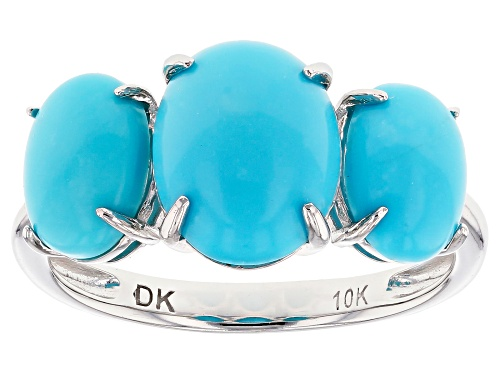 Photo of 10x8mm And 8x6mm Oval Cabochon Sleeping Beauty Turquoise 10k Yellow Gold 3-Stone Ring - Size 6