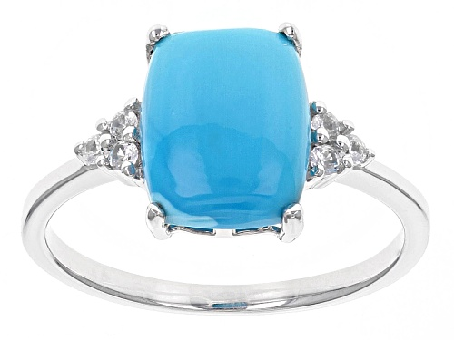 Photo of 10x8mm Rectangular Cushion Sleeping Beauty Turquoise And .09ctw White Zircon 10k White Gold Ring - Size 7