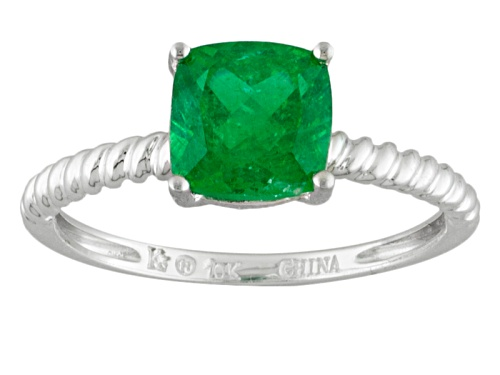 Photo of 1.60ct Square Cushion Emerald Color Apatite 10k White Gold Solitaire Ring - Size 8