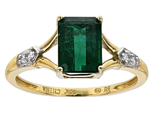 Photo of 1.60ct Emerald Cut Emerald Color Apatite And .06ctw White Zircon 10k Yellow Gold Ring - Size 8