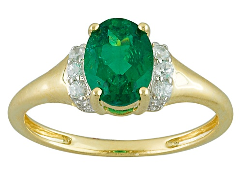 Photo of 1.10ct Oval Emerald Color Apatite And .12ctw Round White Zircon 10k Yellow Gold Ring - Size 7