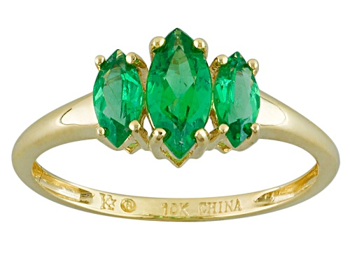 Photo of .95ctw Marquise Emerald Color Apatite 10k Yellow Gold 3-Stone Ring - Size 8