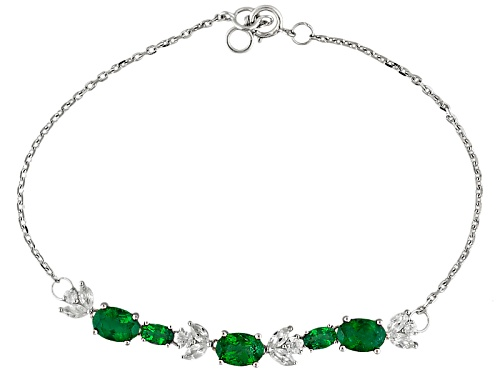 Photo of 2.71ctw Oval Emerald Color Apatite And .90ctw White Zircon 10k White Gold Bracelet - Size 7.25