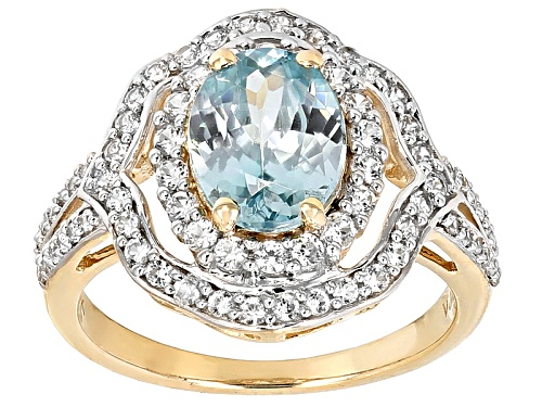 2.35ct Oval Blue Zircon And .65ctw Round White Zircon 10k Yellow Gold Ring - Size 8
