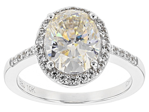 Photo of 2.76ct Oval Lab Created Strontium Titanate And .22ctw Round White Zircon 10k White Gold Ring - Size 8