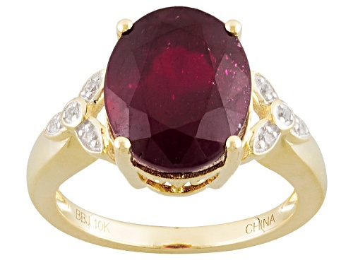Photo of 5.80ct Oval Mahaleo® Ruby And .06ctw Round White Zircon 10k Yellow Gold Ring - Size 7