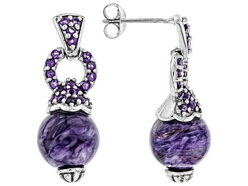Photo of 10MM ROUND CHAROITE BEAD WITH .59CTW ROUND AFRICAN AMETHYST RHODIUM OVER SILVER EARRINGS