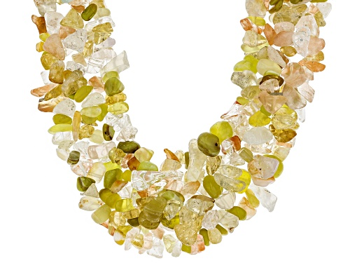 Photo of FREE-FORM CITRINE, CARNELIAN & GOLDEN OPAL NUGGETS STERLING SILVER KNITTED MULTI-STRAND NECKLACE - Size 19