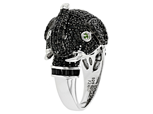 Photo of 3.22ctw Baguette & Round Black Spinel with .02ctw Chrome Diopside Rhodium Over Silver Elephant Ring - Size 7