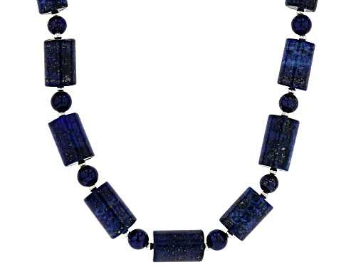 Photo of 6mm Round & 15x10mm Barrel Shape Lapis Lazuli Sterling Silver Bead Necklace - Size 20