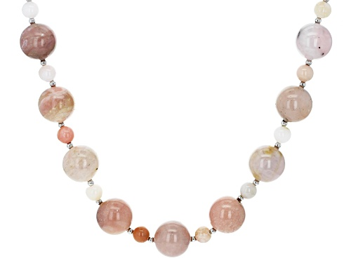 Photo of 6mm & 14mm Round Peruvian Pink Opal Sterling Silver Bead Necklace - Size 20