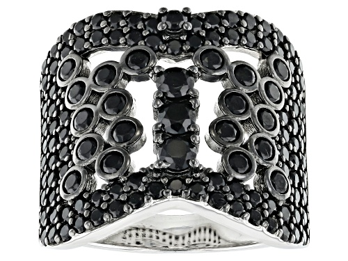Photo of 2.34ctw round black spinel rhodium over sterling silver band ring - Size 7