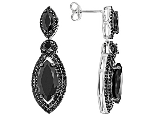 Photo of 8.06ctw Marquise and Round Black Spinel Rhodium Over Sterling Silver Dangle Earrings