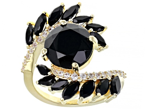 Photo of 4.90ctw round & marquise black spinel with .57ctw white zircon 18K gold over silver bypass ring - Size 7
