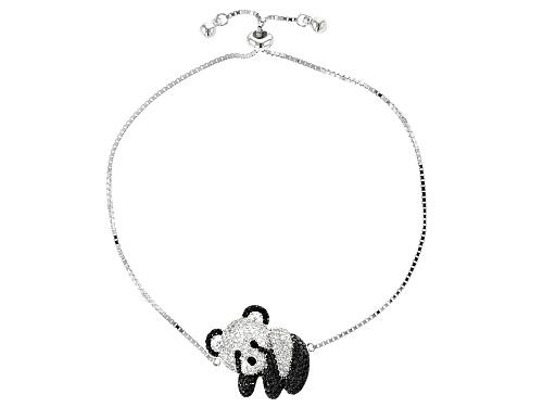 "Photo of 1.90ctw Round White Zircon & Black Spinel Rhodium Over Silver Panda Bolo Bracelet, Adjusts 6""-9"""