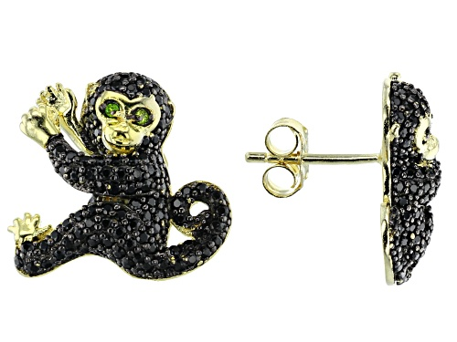 1.25ctw Round Black Spinel & .02ctw Chrome Diopside 18k Gold Over Silver Monkey Earrings
