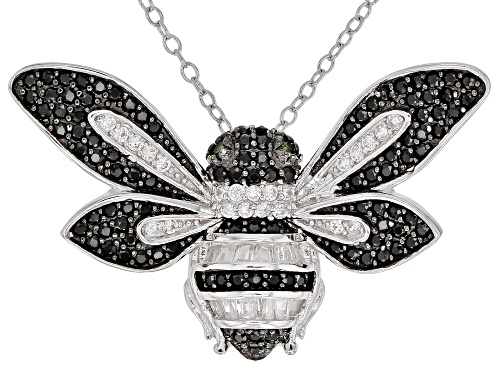 Photo of 1.11ctw Black Spinel, White Zircon and Chrome Diopside Rhodium Over Silver Bee Slide With Chain
