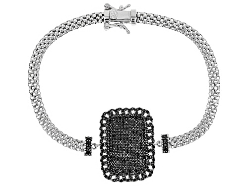 Photo of 1.96ctw Round Black Spinel Dog Tag Rhodium Over Sterling Silver Popcorn Bracelet - Size 7.5