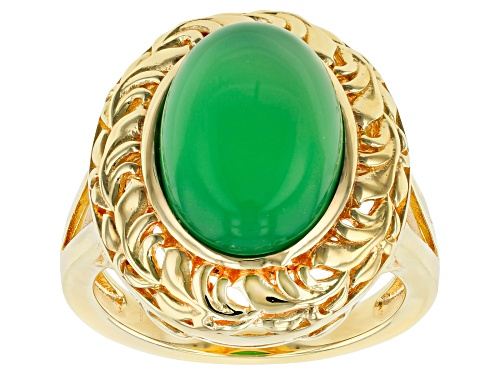 Photo of 14x10mm Oval Green Onyx 18k Gold Over Sterling Silver Solitaire Ring - Size 10