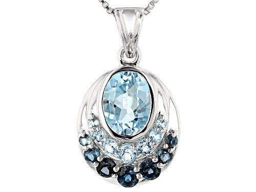 Photo of 2.77ctw Glacier Topaz™, London Blue Topaz & Swiss Blue Topaz Rhodium Over Silver Pendant with Chain