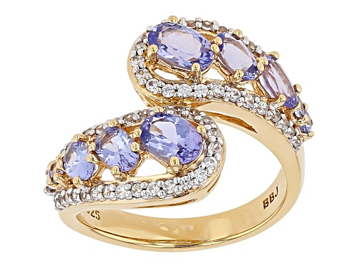 Photo of 1.68CTW OVAL AND ROUND TANZANITE WITH .43CTW WHITE ZIRCON 18K YELLOW GOLD OVER SILVER BYPASS RING - Size 7