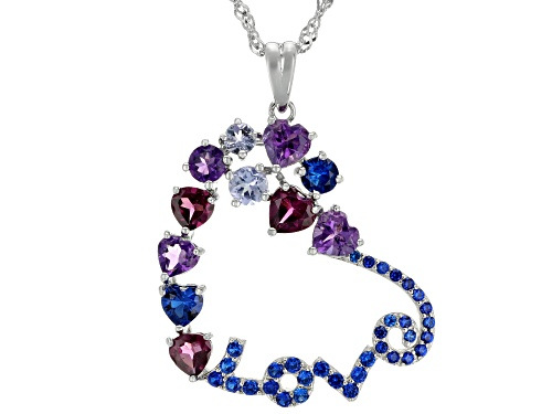 "Photo of 2.83ctw Heart Shape & Round Multi-Gemstone Rhodium Over Silver ""Love"" Pendant W/ Chain"