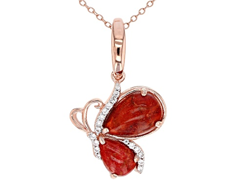Photo of Pear Shape Sponge Coral & .05ctw White Zircon 18k Rose Gold Over Silver Butterfly Enhancer W/Chain