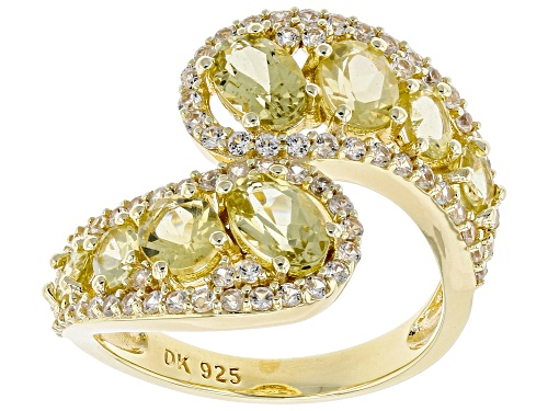 Photo of 2.04CTW OVAL YELLOW APATITE WITH .93CTW WHITE ZIRCON 18K YELLOW GOLD OVER SILVER RING - Size 8