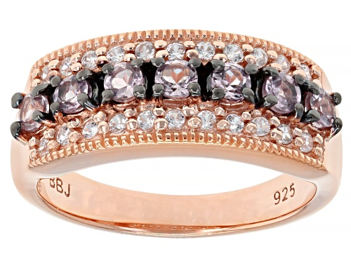 Photo of .47CTW ROUND COLOR SHIFT GARNET WITH .17CTW WHITE ZIRCON 18K ROSE GOLD OVER SILVER RING - Size 7