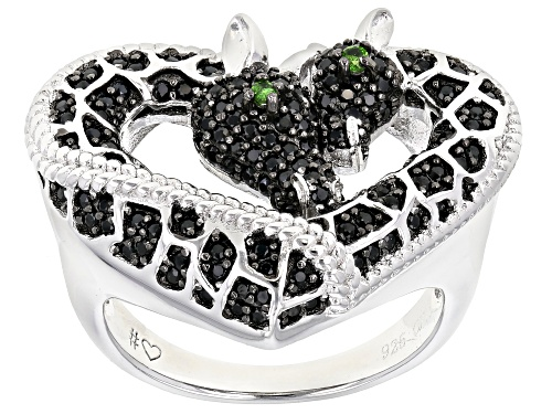 Photo of .78ctw Black Spinel & .03ctw Chrome Diopside Rhodium Over Silver Mother & Child Giraffe Heart Ring - Size 7
