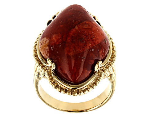 Photo of 26X16MM FREE-FORM RED SPONGE CORAL 18K YELLOW GOLD OVER STERLING SILVER SOLITAIRE RING - Size 8