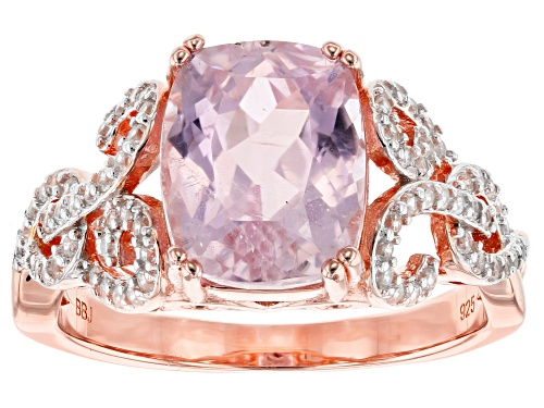 Photo of 3.08CT RECTANGULAR CUSHION KUNZITE WITH .39CTW ROUND WHITE ZIRCON 18K ROSE GOLD OVER SILVER RING - Size 8