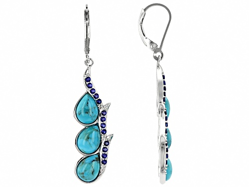 Photo of 8x6mm turquoise with 0.42ctw lab created sapphire rhodium over sterling silver earrings