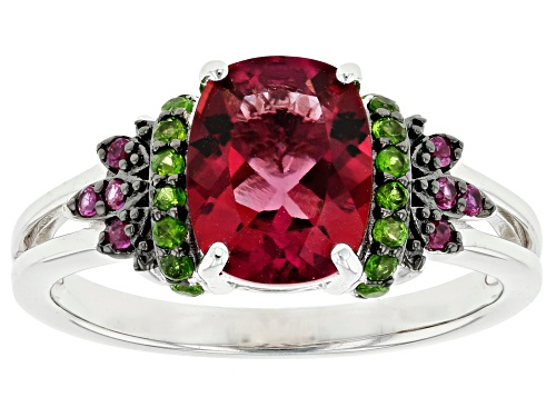 Photo of 1.60ctw Lab Created Bixbite, Lab Created Ruby & Russian Chrome Diopside Rhodium Over Silver Ring - Size 7