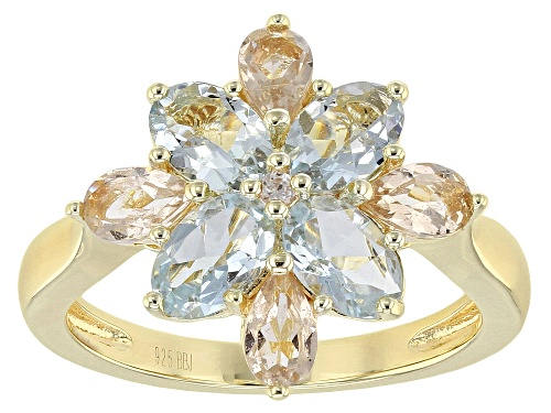 Photo of 1.25ctw Oval Aquamarine, .51ctw Pear Shape Morganite & .01ct White Zircon 18k Gold Over Silver Ring - Size 6