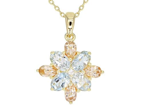 Photo of 1.25ctw Oval Aquamarine, .51ctw Morganite & White Zircon 18k Gold Over Silver Flower Pendant W/Chain