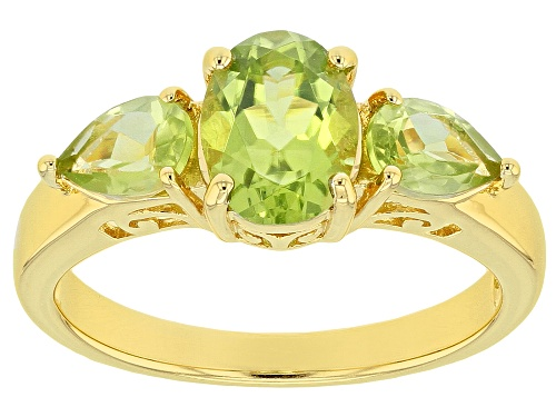 Photo of 1.90CTW OVAL AND PEAR SHAPE MANCHURIAN PERIDOT(TM) 18K YELLOW GOLD OVER SILVER 3-STONE RING - Size 7