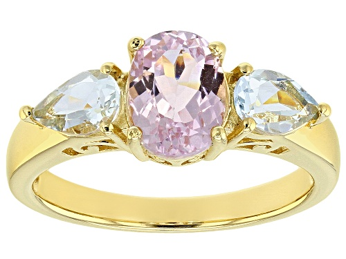 Photo of 1.47ct Oval Kunzite with .59ctw Pear Shape Aquamarine 18k Gold Over Sterling Silver 3-Stone Ring - Size 9