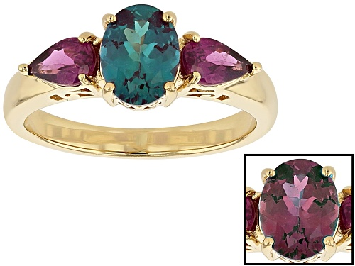 Photo of 1.23ct Lab Created Alexandrite & .86ctw Raspberry Color Rhodolite 18k Gold Over Silver 3-Stone Ring - Size 8