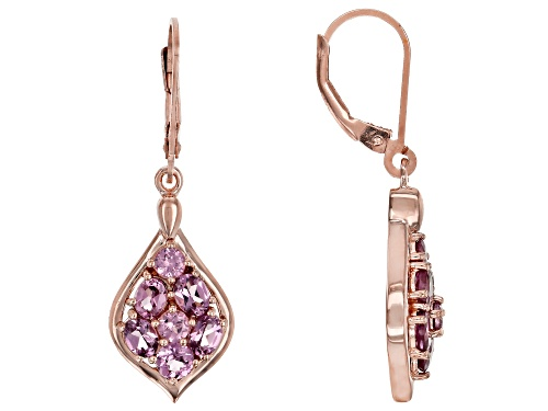 Photo of 2.16ctw Oval and Round Blush Color Garnet 18k Rose Gold Over Sterling Silver Dangle Earrings