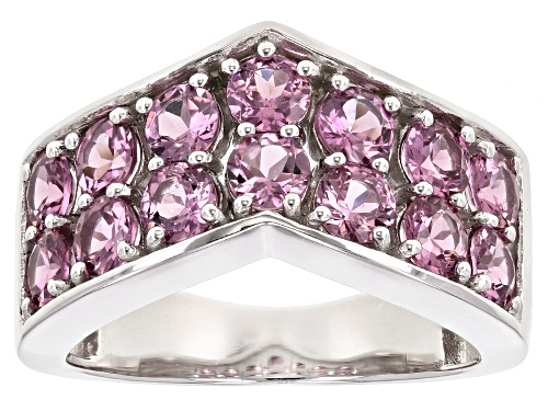 Photo of 2.92ctw Round Blush Color Garnet Rhodium Over Silver 2-Row Chevron Band Ring - Size 8
