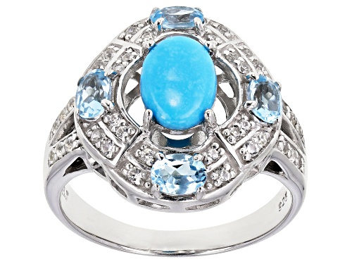 Photo of Sleeping Beauty Turquoise, .57ctw Swiss Blue Topaz & .22ctw White Zircon Rhodium Over Silver Ring - Size 6