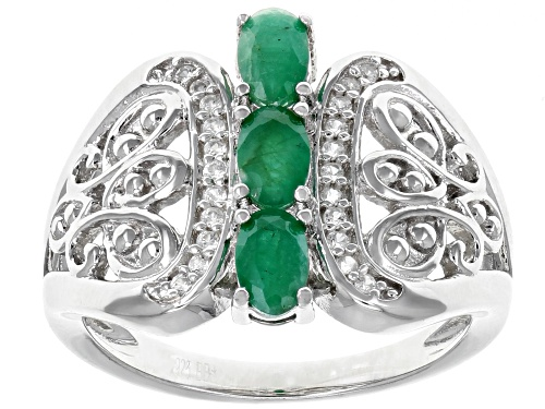 Photo of .56CTW OVAL ZAMBIAN EMERALD WITH .15CTW WHITE ZIRCON RHODIUM OVER SILVER 3-STONE RING - Size 8