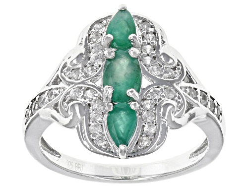 Photo of .74CTW OVAL AND PEAR SHAPE ZAMBIAN EMERALD WITH .30CTW WHITE ZIRCON RHODIUM OVER  SILVER RING - Size 9