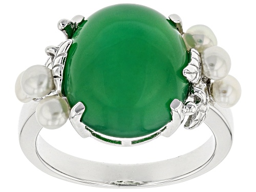 Photo of 14x12mm Oval Cabochon Green Onyx & 3mm Round Cultured Freshwater Pearl Rhodium Over Silver Ring - Size 7
