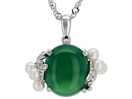 Photo of 14x12mm Oval Green Onyx & 3mm Round Cultured Freshwater Pearl Rhodium Over Silver Pendant W/Chain