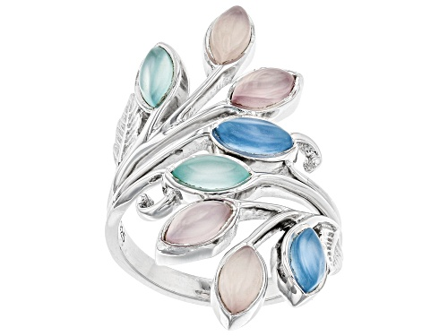 Photo of Marquise Pink, Aqua Color & Blue Chalcedony Rhodium Over Sterling Silver Ring - Size 7