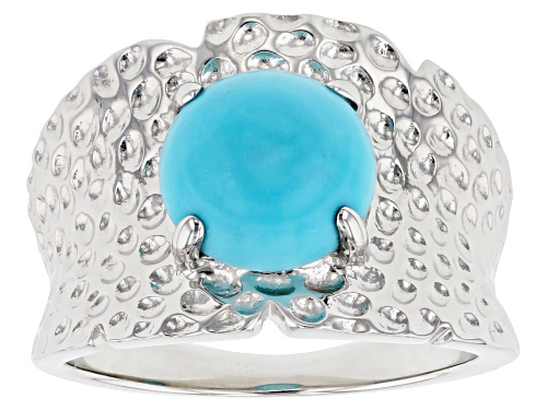 Photo of 9mm Round Sleeping Beauty Turquoise Solitaire Rhodium Over Sterling Silver Hammered Finish Ring - Size 7